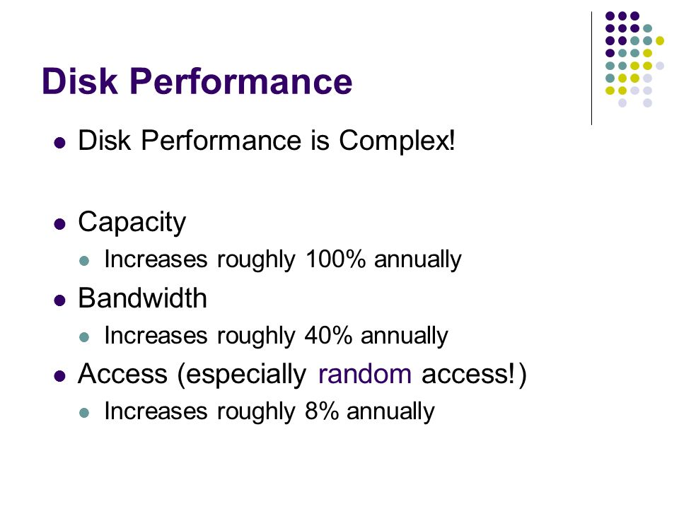 Disk Performance Disk Performance is Complex.