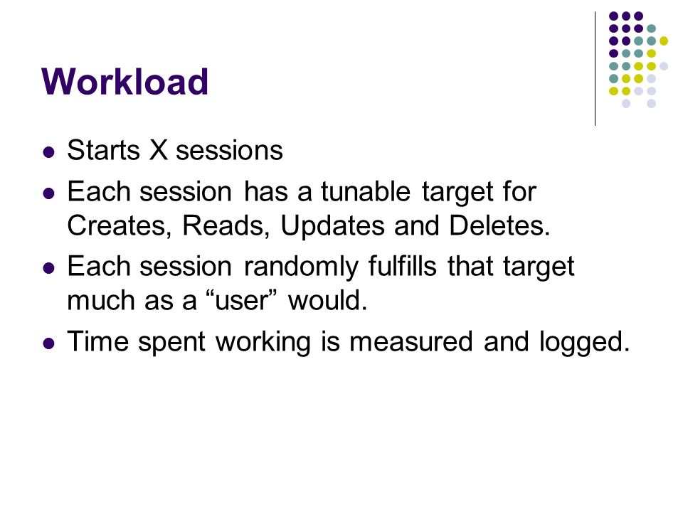 Workload Starts X sessions Each session has a tunable target for Creates, Reads, Updates and Deletes.