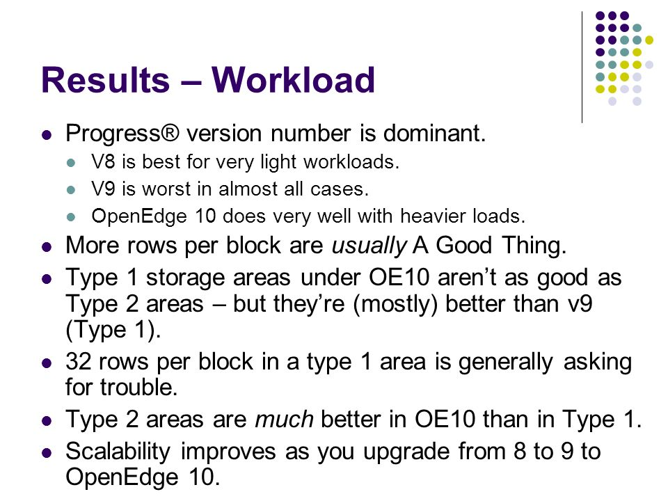 Results – Workload Progress® version number is dominant.
