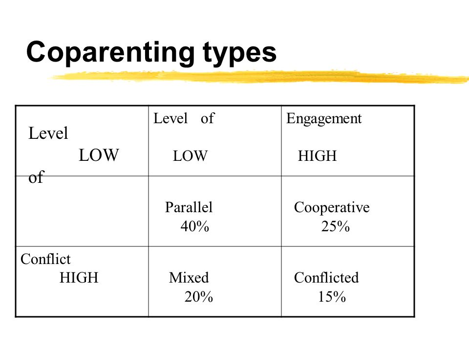 Coparenting types Level of LOW Engagement HIGH Parallel 40% Cooperative 25% Conflict HIGH Mixed 20% Conflicted 15% Level LOW of