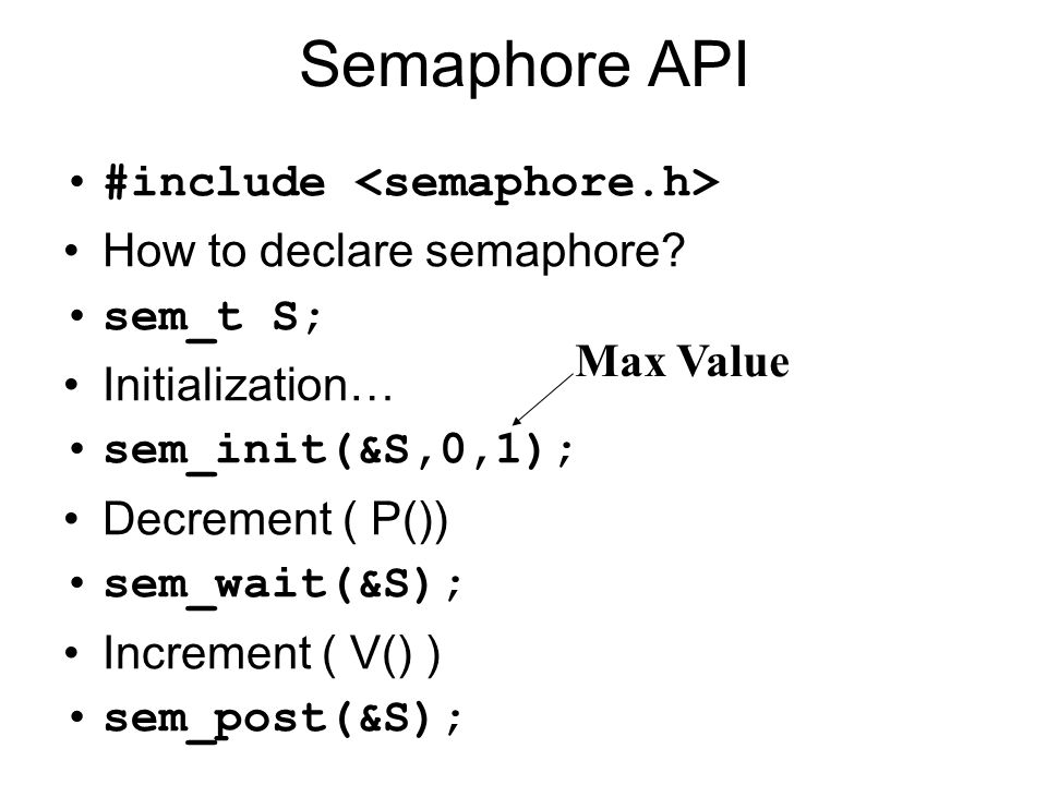 Semaphore API #include How to declare semaphore.