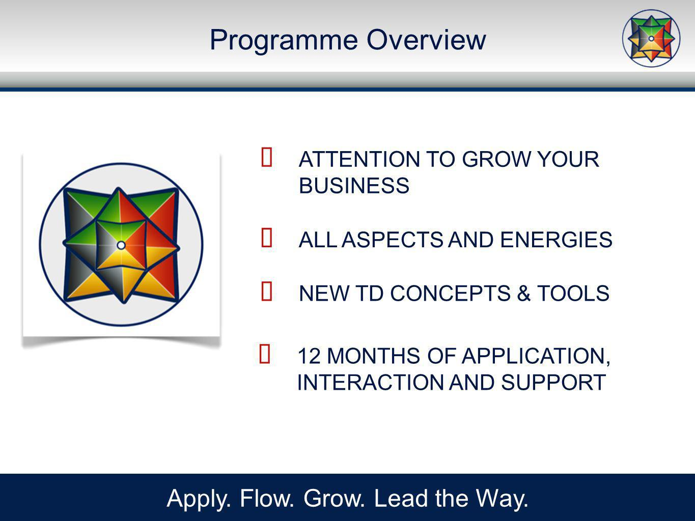Programme Overview Apply. Flow. Grow. Lead the Way.