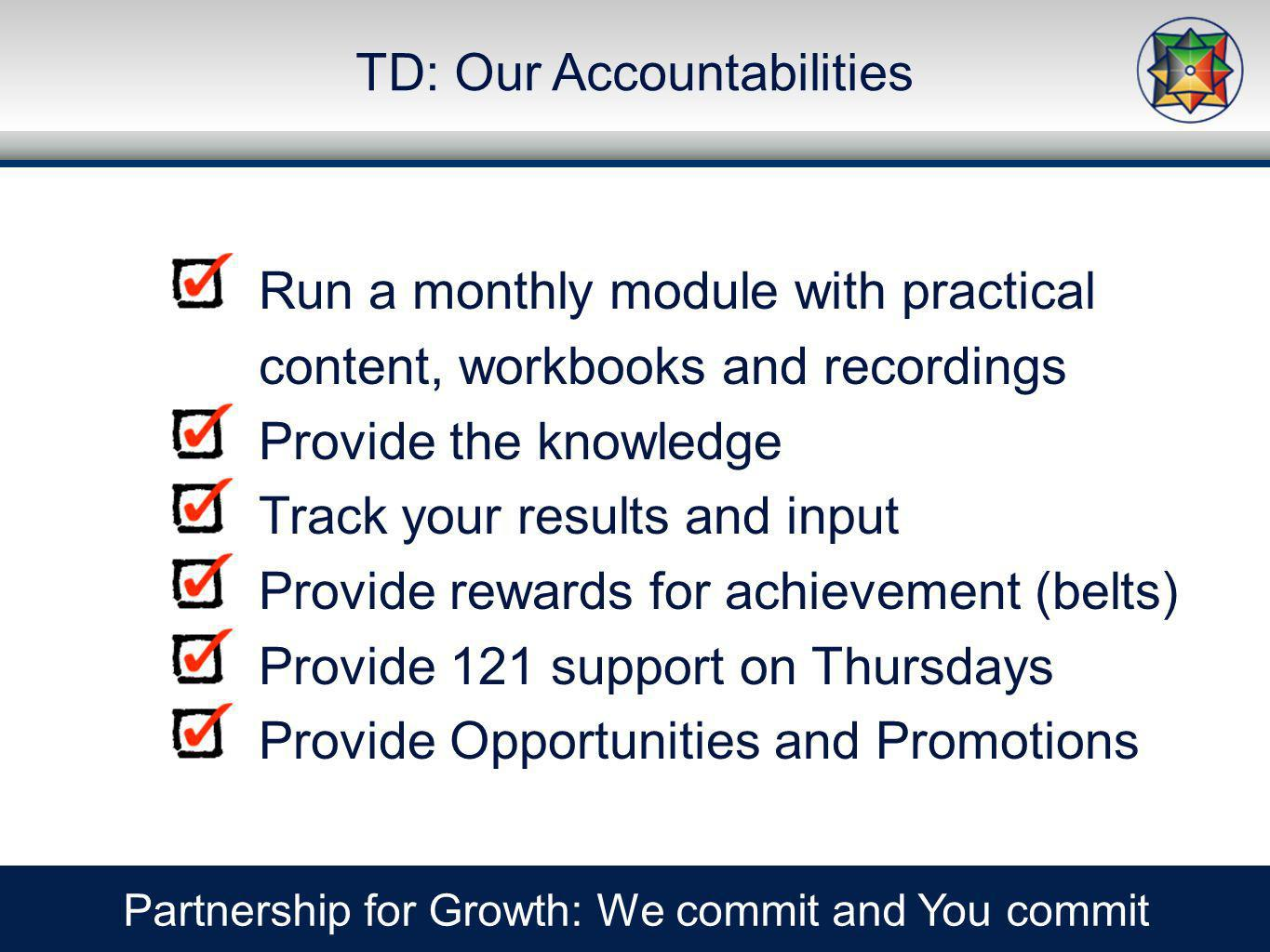 TD: Our Accountabilities Partnership for Growth: We commit and You commit Run a monthly module with practical content, workbooks and recordings Provide the knowledge Track your results and input Provide rewards for achievement (belts) Provide 121 support on Thursdays Provide Opportunities and Promotions