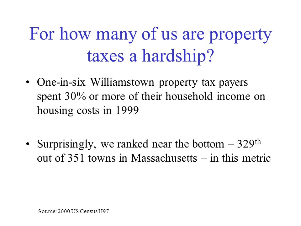One-in-six Williamstown property tax payers spent 30% or more of their household income on housing costs in 1999 Surprisingly, we ranked near the bottom – 329 th out of 351 towns in Massachusetts – in this metric Source: 2000 US Census H97