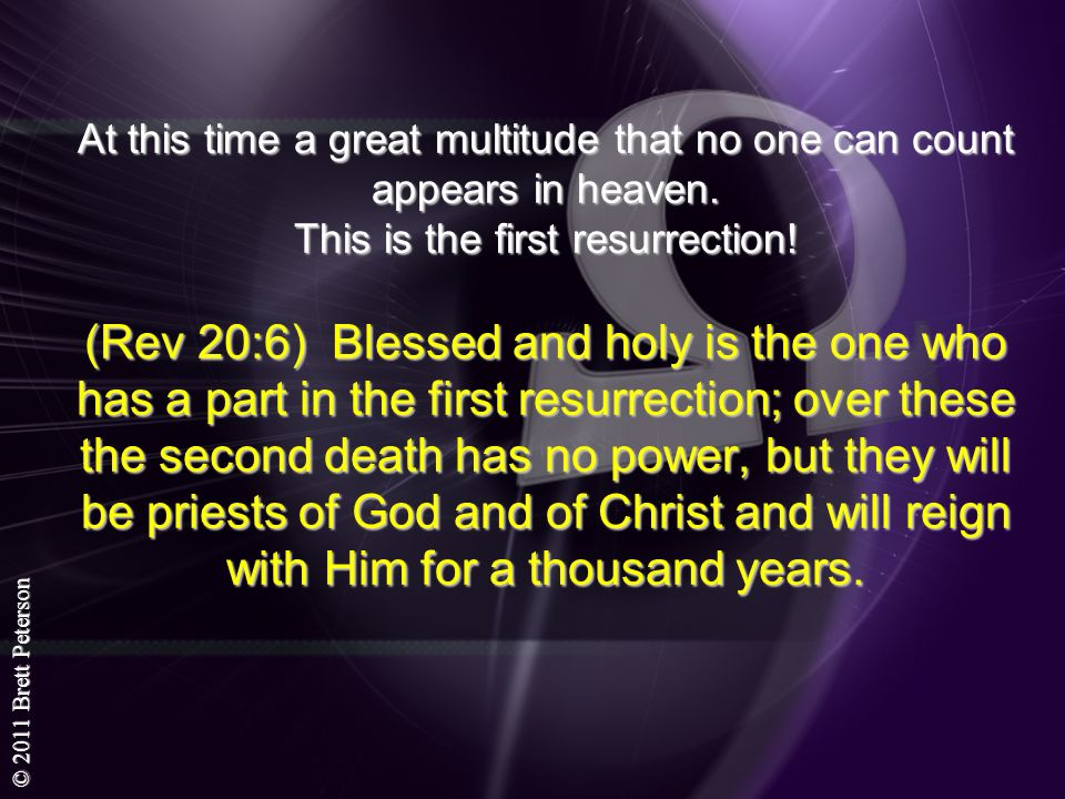 © 2011 Brett Peterson At this time a great multitude that no one can count appears in heaven. This is the first resurrection! (Rev 20:6) Blessed and h