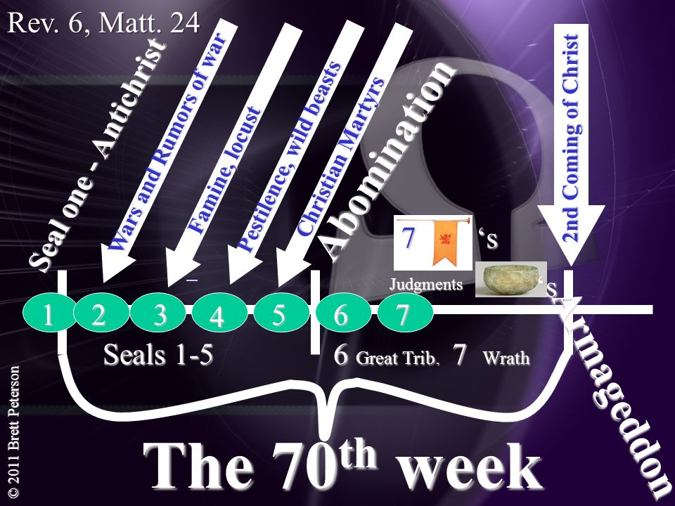 © 2011 Brett Peterson The 70 th week 2nd Coming of Christ Abomination Seal one - Antichrist Armageddon 1 Seals 1-5 6 Great Trib. 7 Wrath 23 4 567 7 s