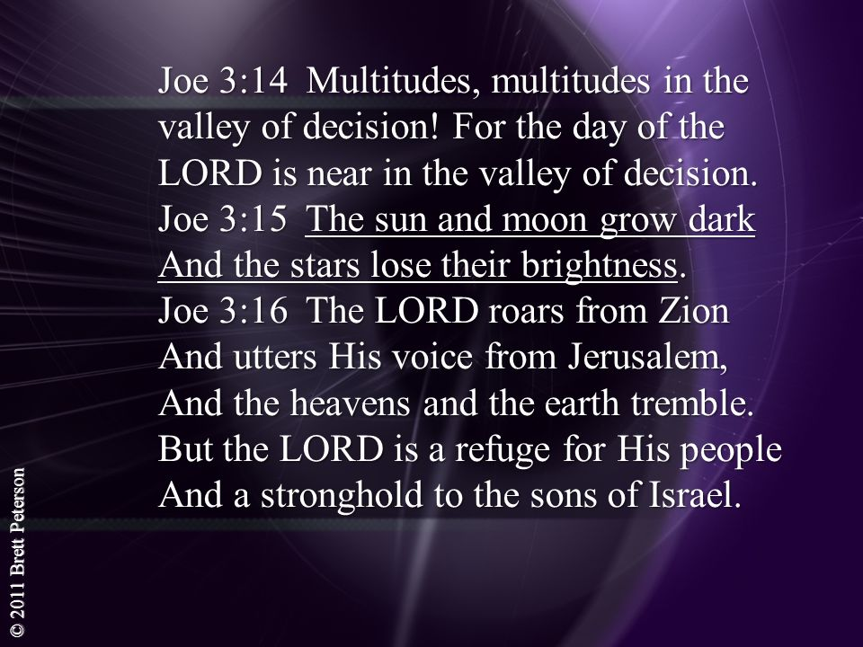© 2011 Brett Peterson Joe 3:14 Multitudes, multitudes in the valley of decision! For the day of the LORD is near in the valley of decision. Joe 3:15 T