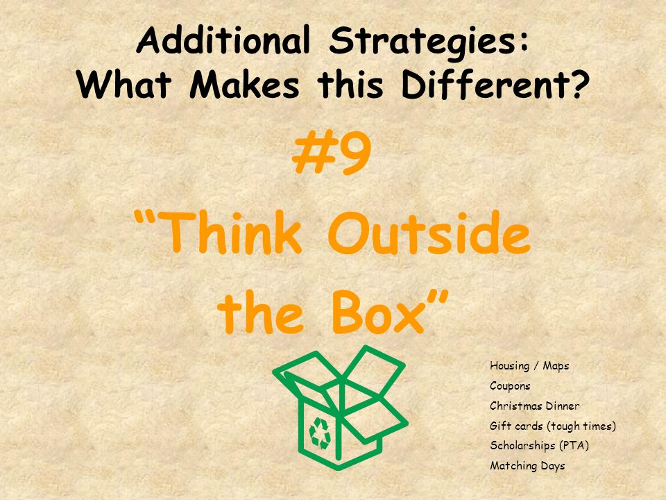 Additional Strategies: What Makes this Different? #9 Think Outside the Box Housing / Maps Coupons Christmas Dinner Gift cards (tough times) Scholarshi