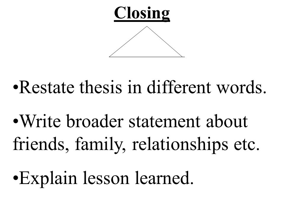 Closing Restate thesis in different words. Write broader statement about friends, family, relationships etc. Explain lesson learned.