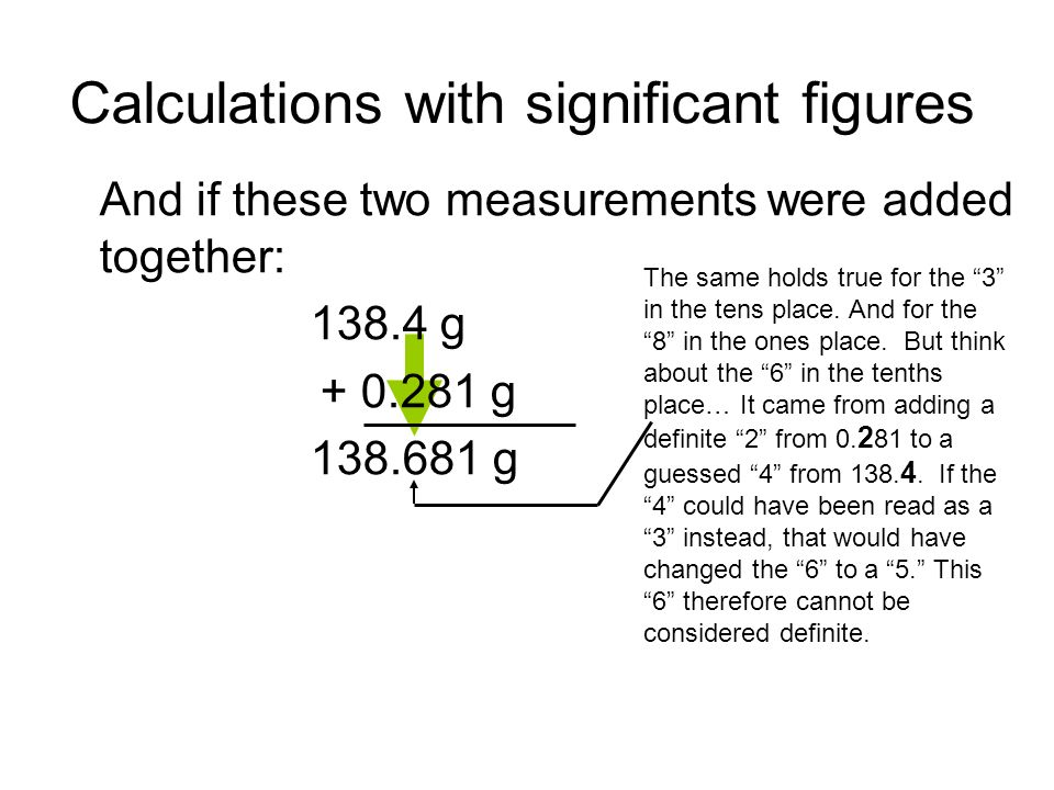 Calculations with significant figures And if these two measurements were added together: 138.4 g + 0.281 g 138.681 g The same holds true for the 3 in the tens place.