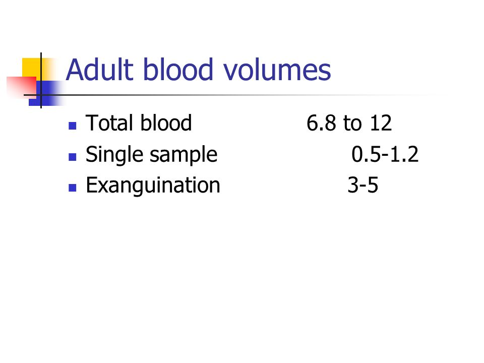 Adult blood volumes Total blood 6.8 to 12 Single sample 0.5-1.2 Exanguination 3-5