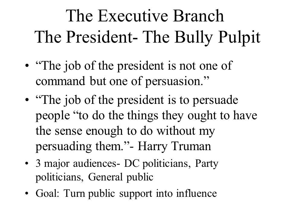 The Executive Branch The President- The Bully Pulpit The job of the president is not one of command but one of persuasion. The job of the president is