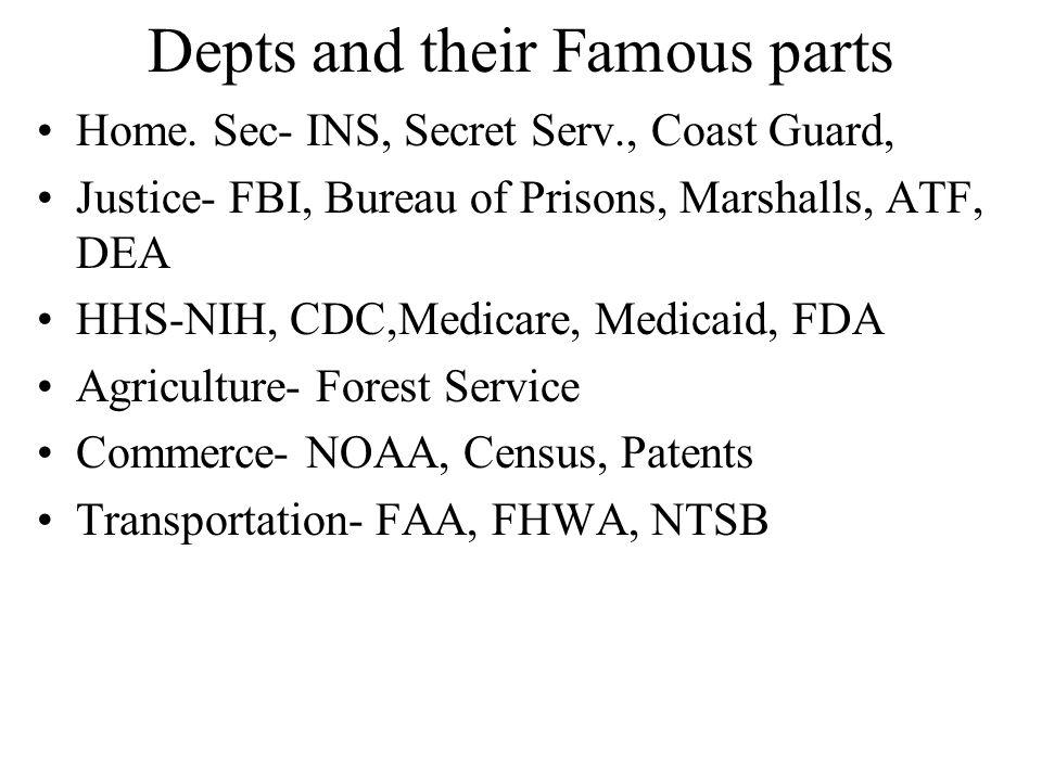 Depts and their Famous parts Home. Sec- INS, Secret Serv., Coast Guard, Justice- FBI, Bureau of Prisons, Marshalls, ATF, DEA HHS-NIH, CDC,Medicare, Me
