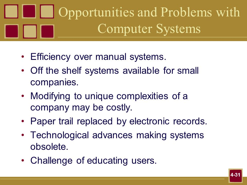 4-31 Opportunities and Problems with Computer Systems Efficiency over manual systems. Off the shelf systems available for small companies. Modifying t