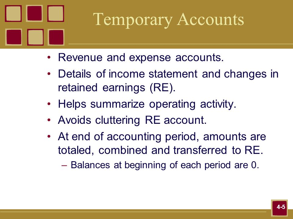 4-5 Temporary Accounts Revenue and expense accounts. Details of income statement and changes in retained earnings (RE). Helps summarize operating acti