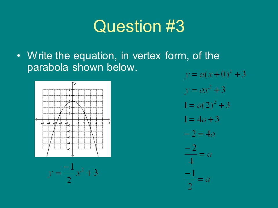 Question #3 Write the equation, in vertex form, of the parabola shown below.