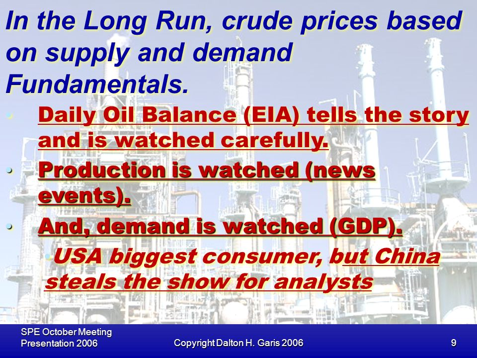 SPE October Meeting Presentation 2006Copyright Dalton H. Garis 20069 In the Long Run, crude prices based on supply and demand Fundamentals. Daily Oil