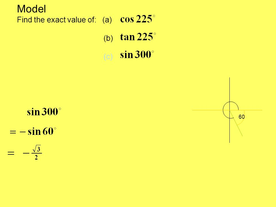 Model Find the exact value of: (a) (b) (c) 60