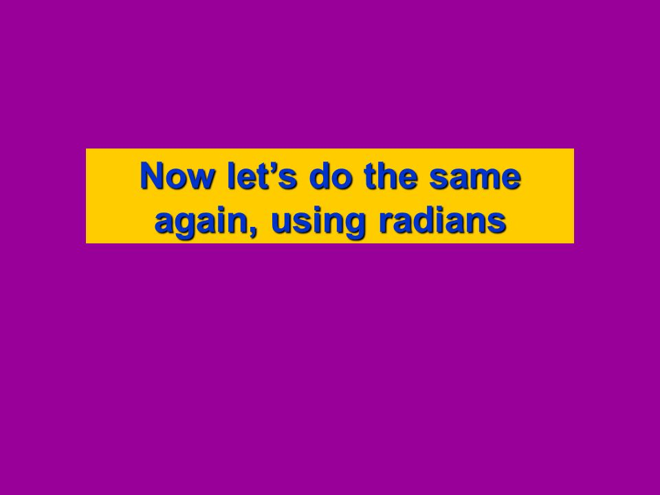 Now lets do the same again, using radians