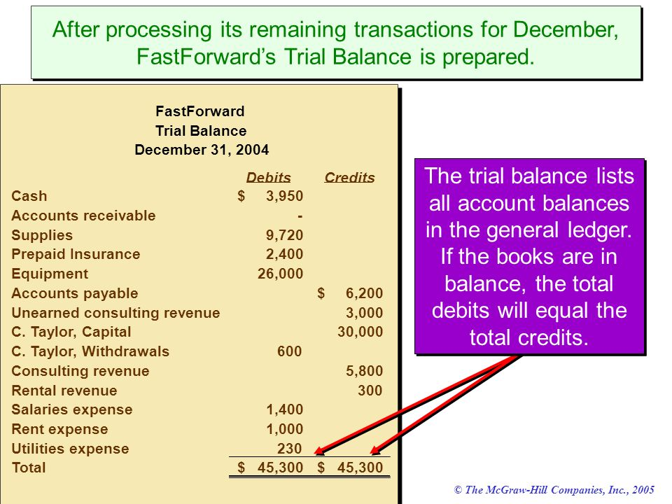 © The McGraw-Hill Companies, Inc., 2005 McGraw-Hill/Irwin After processing its remaining transactions for December, FastForwards Trial Balance is prep
