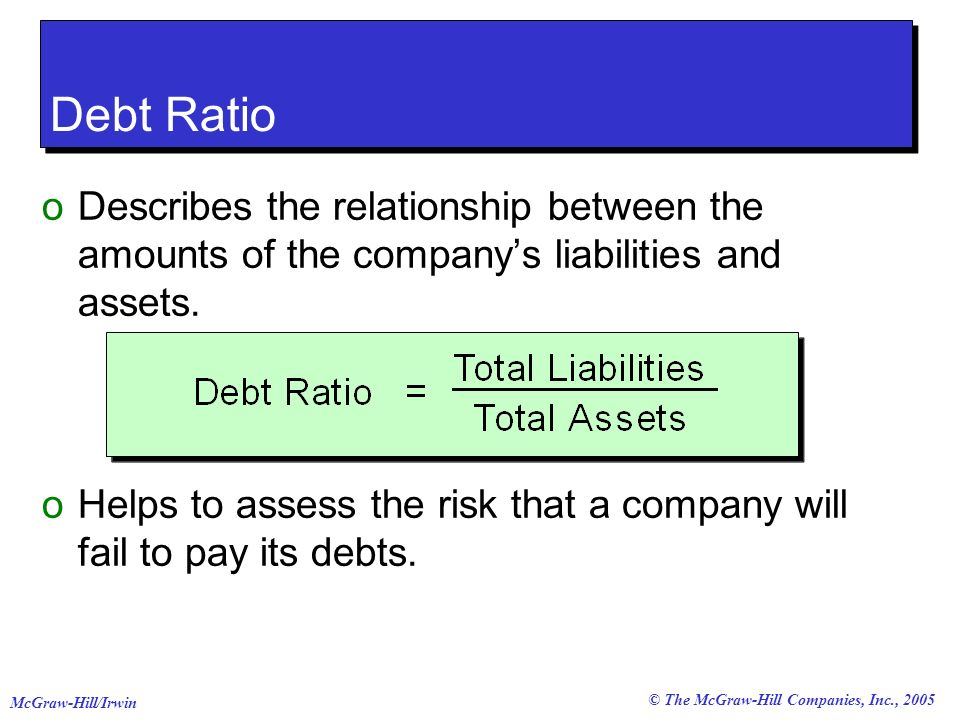 © The McGraw-Hill Companies, Inc., 2005 McGraw-Hill/Irwin oDescribes the relationship between the amounts of the companys liabilities and assets. oHel
