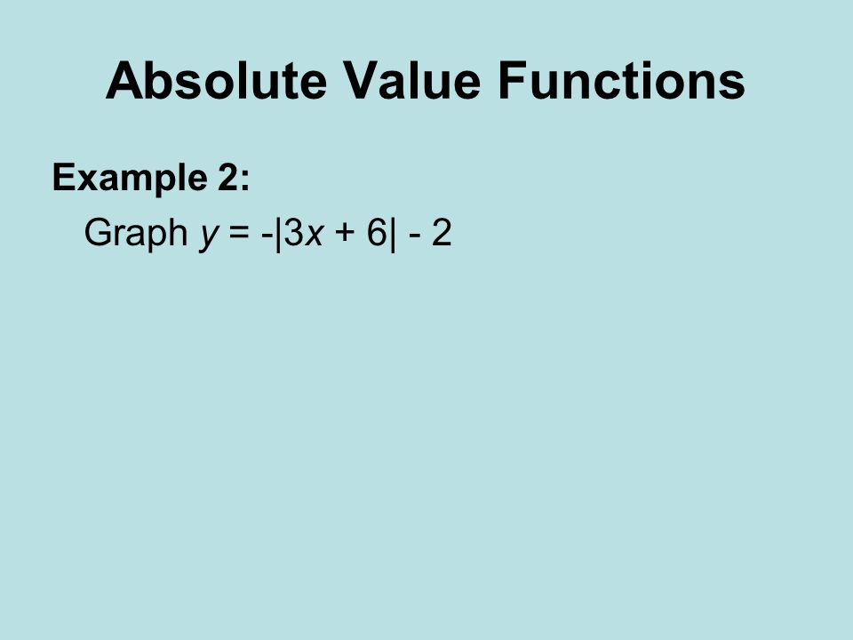 Absolute Value Functions Example 2: Graph y = -|3x + 6| - 2