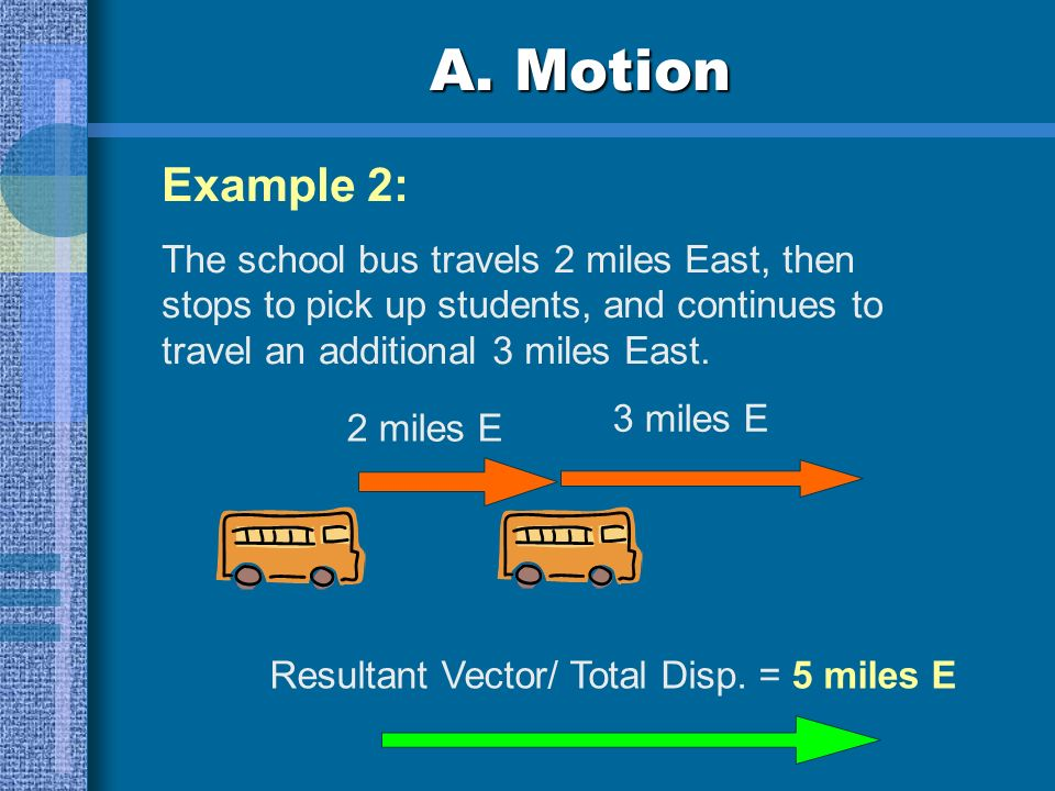 A. Motion Example 1: A fire truck drives 10 miles East, then turns around and drives 2 miles West. Displacement = 10 miles E Displacement = 2 miles W