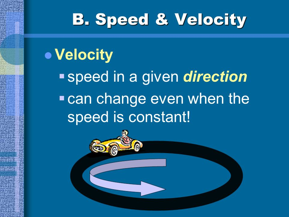 B. Speed & Velocity Problem: A storm is 10 km away and is moving at a speed of 60 km/h. Should you be worried? It depends on the storms direction!