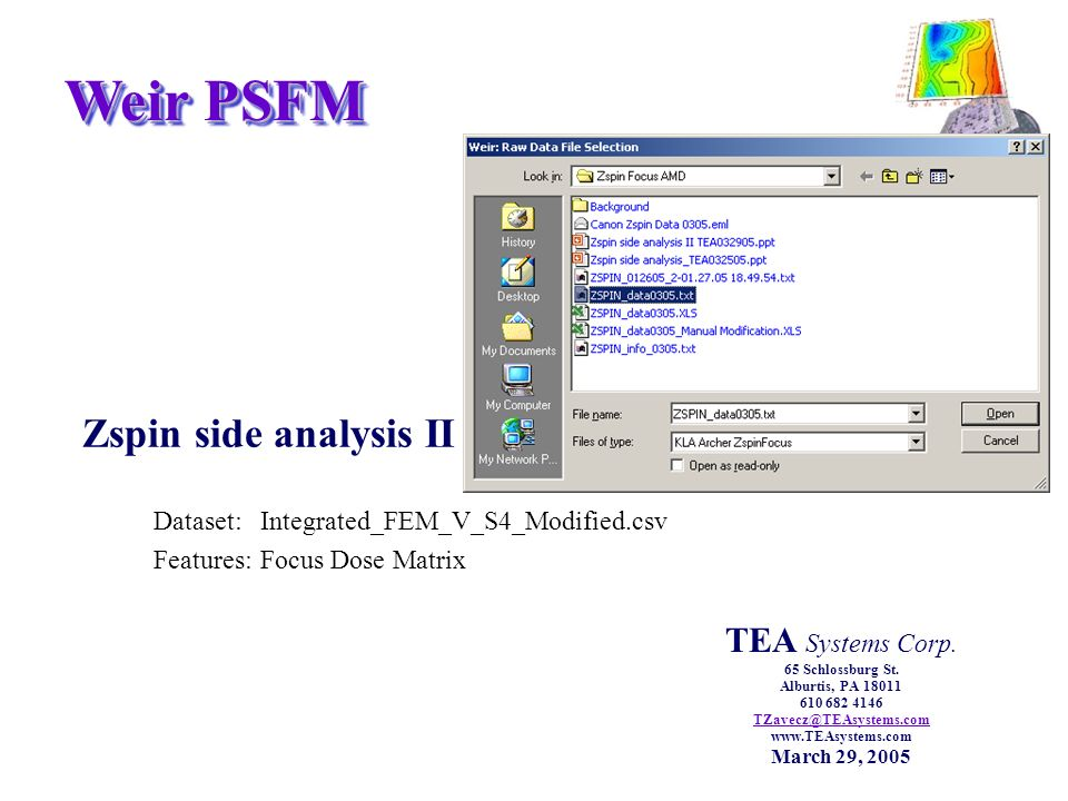 Weir PSFM Zspin side analysis II Dataset:Integrated_FEM_V_S4_Modified.csv Features:Focus Dose Matrix TEA Systems Corp.