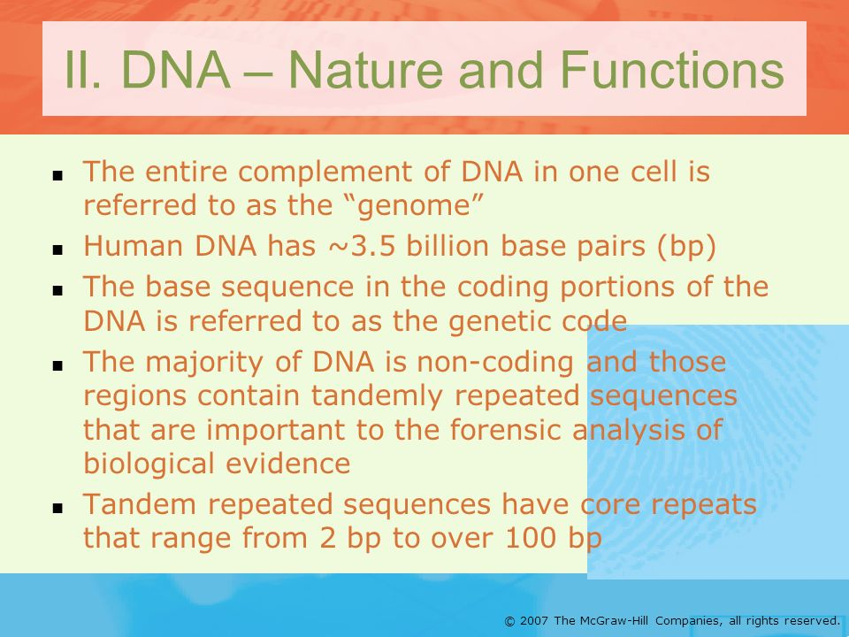 © 2007 The McGraw-Hill Companies, all rights reserved. II. DNA – Nature and Functions The entire complement of DNA in one cell is referred to as the g