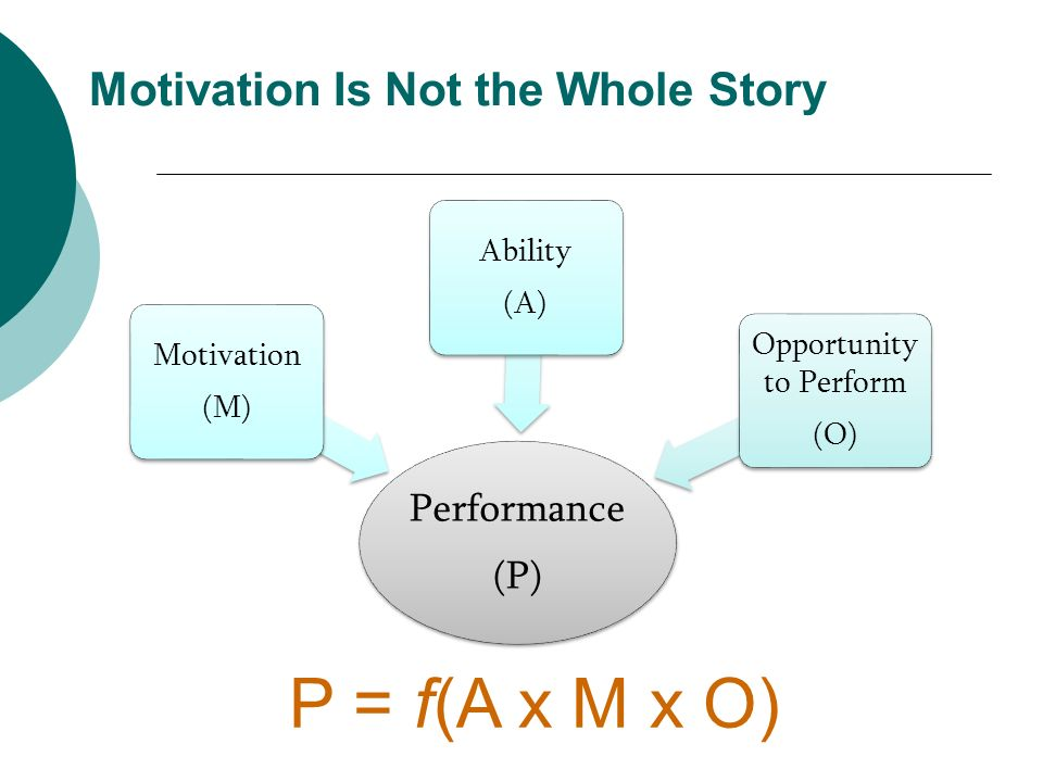 Motivation Is Not the Whole Story Performance (P) Motivation (M) Ability (A) Opportunity to Perform (O) P = f(A x M x O)