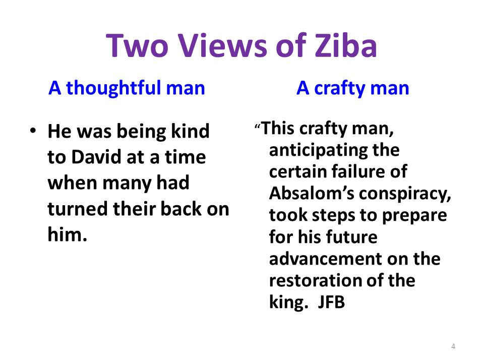 Two Views of Ziba A thoughtful man He was being kind to David at a time when many had turned their back on him.