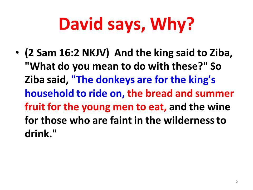 David says, Why.