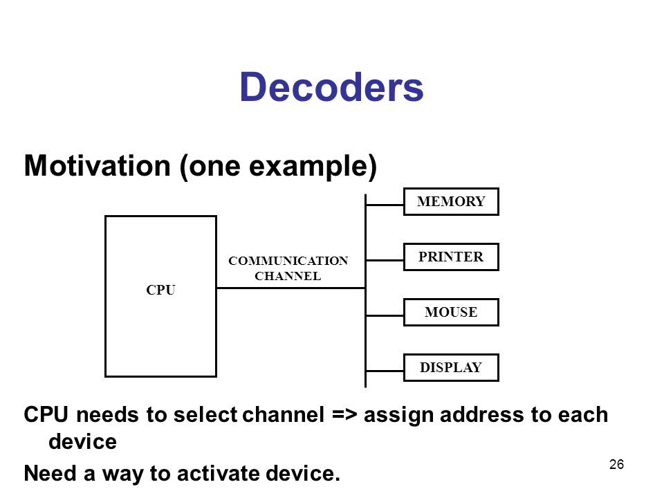 26 Decoders Motivation (one example) CPU needs to select channel => assign address to each device Need a way to activate device. CPU COMMUNICATION CHA