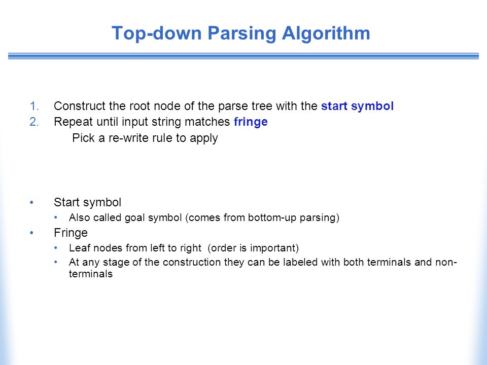 Top-down Parsing Algorithm 1.Construct the root node of the parse tree with the start symbol 2.Repeat until input string matches fringe Pick a re-writ