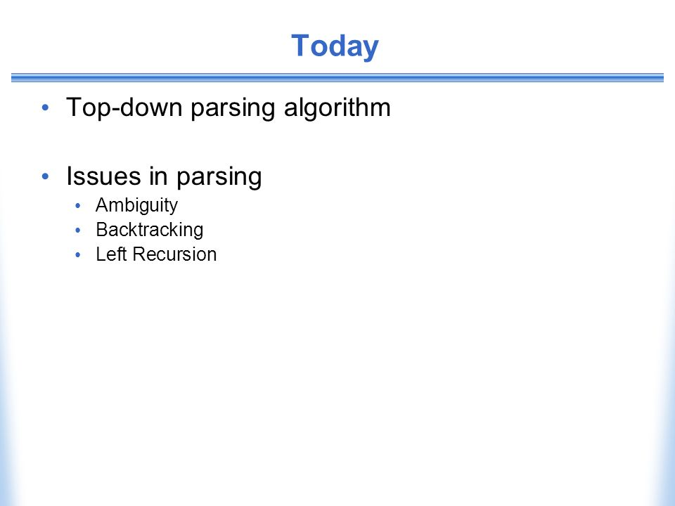 Today Top-down parsing algorithm Issues in parsing Ambiguity Backtracking Left Recursion