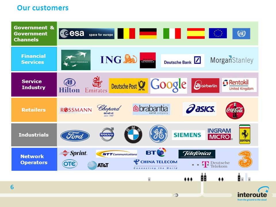 6 Our customers Retailers Financial Services Service Industry Government & Government Channels Network Operators Industrials