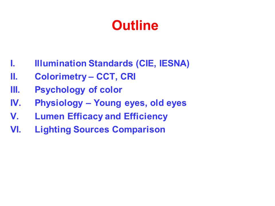 Outline I.Illumination Standards (CIE, IESNA) II.Colorimetry – CCT, CRI III.Psychology of color IV.Physiology – Young eyes, old eyes V.Lumen Efficacy