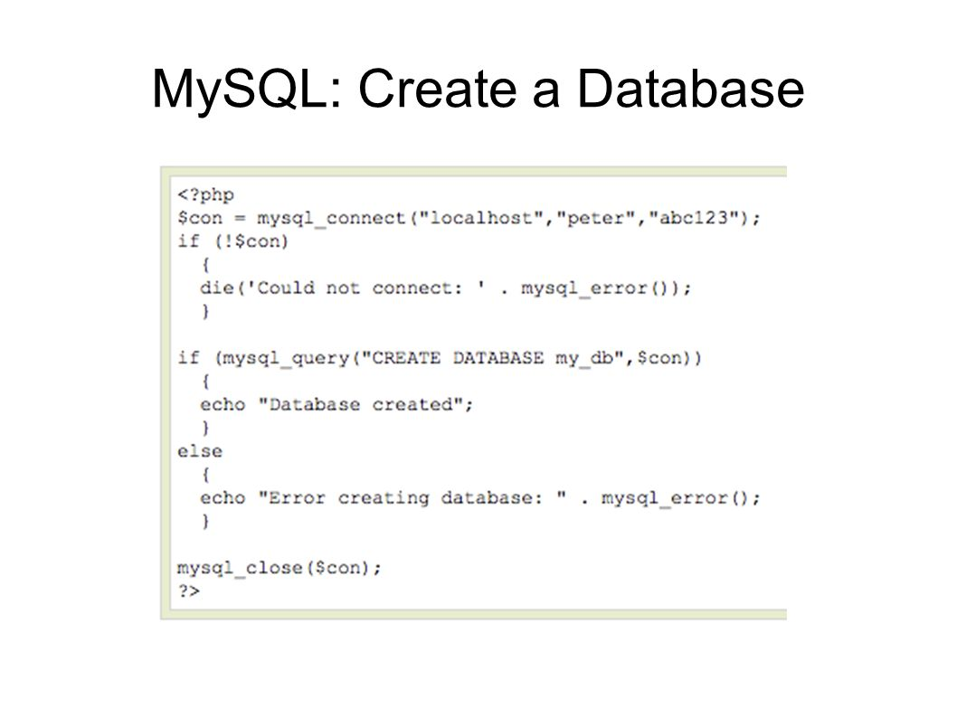 MySQL: Create a Table The CREATE TABLE statement is used to create a table in MySQL.