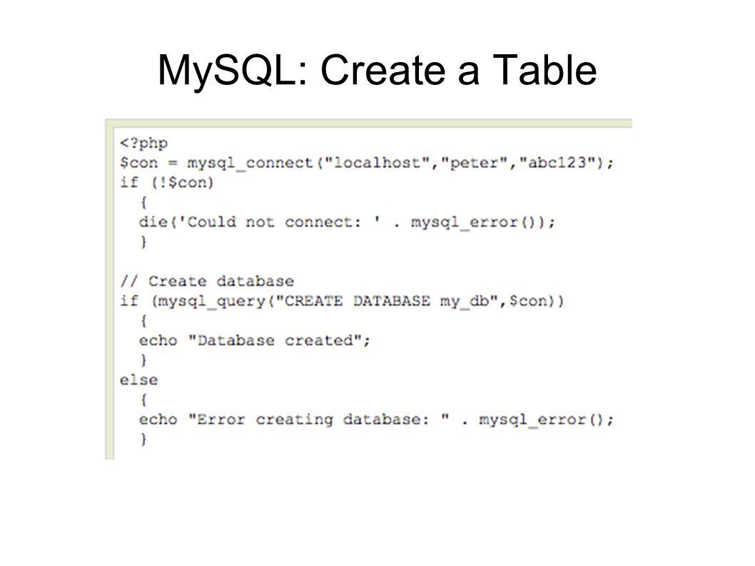 MySQL: Create a Table