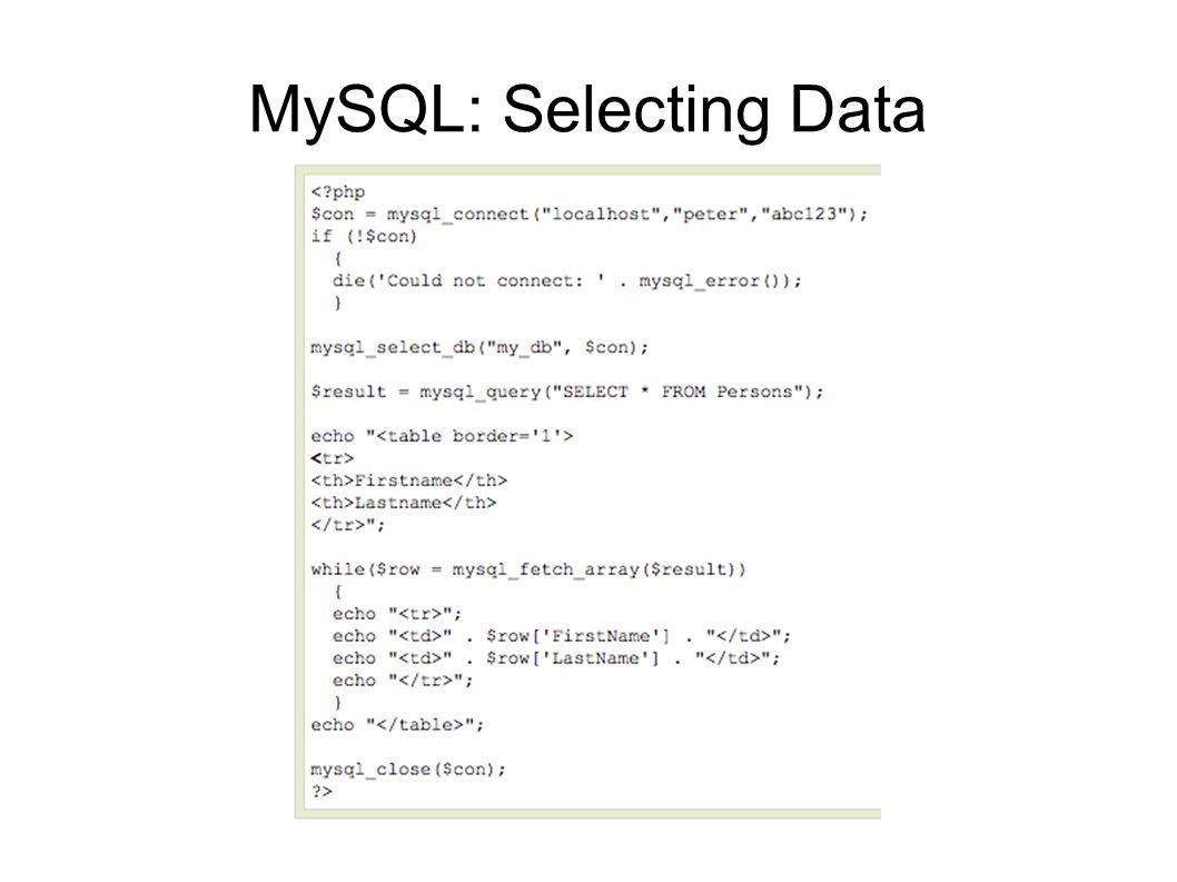 MySQL: Selecting Data