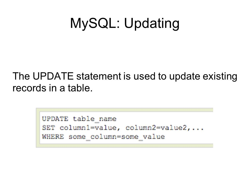 MySQL: Updating Note: Notice the WHERE clause in the UPDATE syntax.