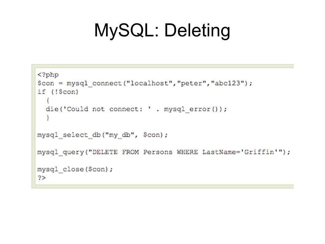 MySQL: Deleting