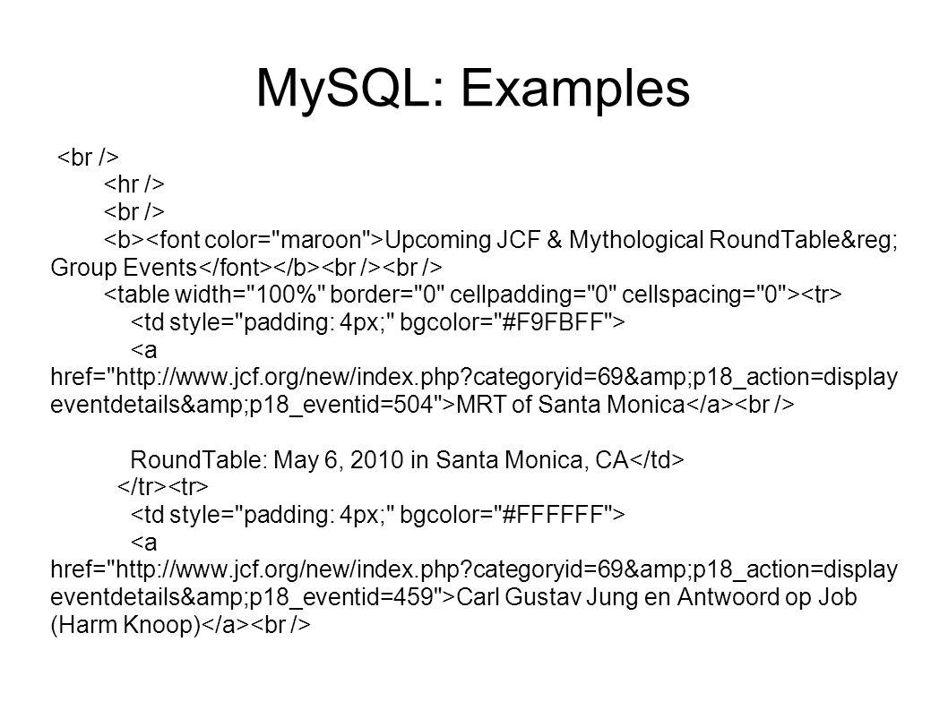 MySQL: Examples Upcoming JCF & Mythological RoundTable® Group Events MRT of Santa Monica RoundTable: May 6, 2010 in Santa Monica, CA Carl Gustav J