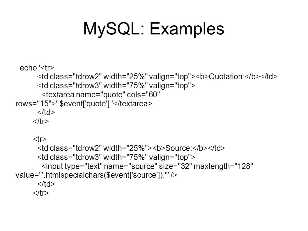 MySQL: Examples echo ' Quotation: '.$event['quote'].' Source: