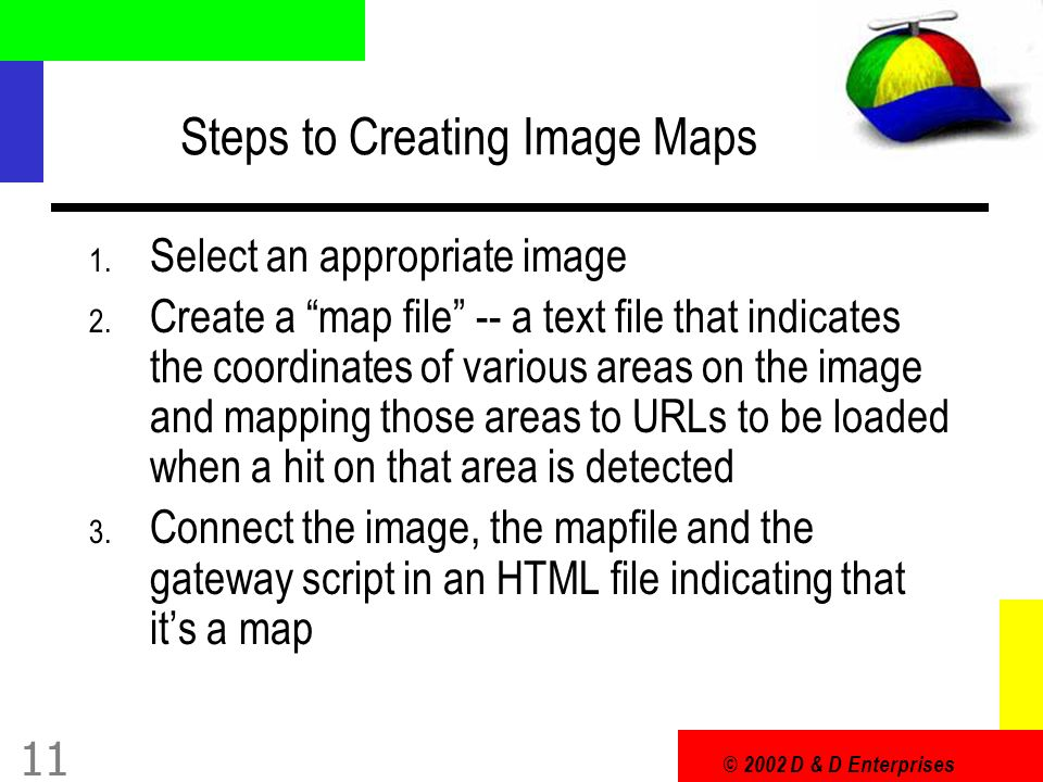 © 2002 D & D Enterprises 11 Steps to Creating Image Maps 1.