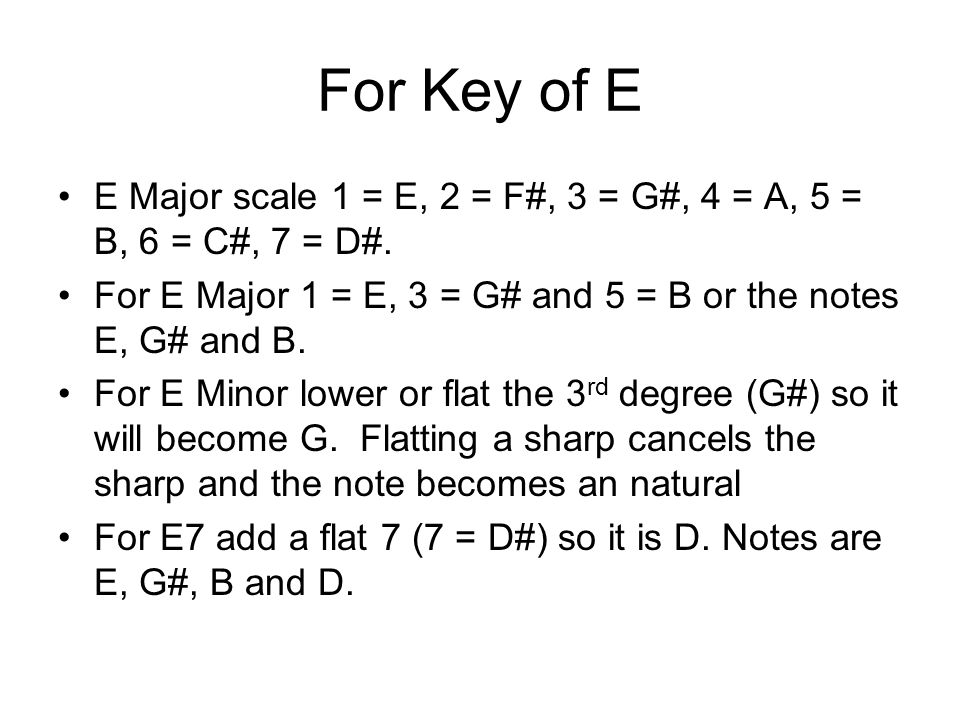 For Key of E E Major scale 1 = E, 2 = F#, 3 = G#, 4 = A, 5 = B, 6 = C#, 7 = D#.