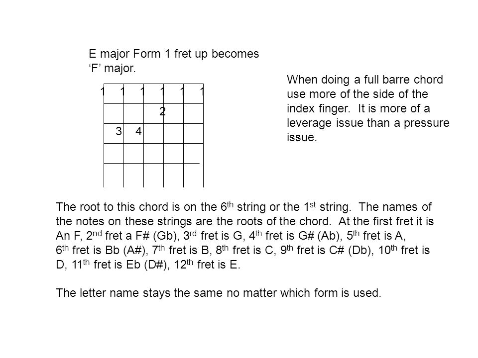 1 1 1 2 34 E major Form 1 fret up becomes F major.
