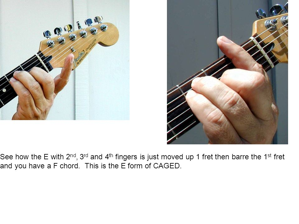 See how the E with 2 nd, 3 rd and 4 th fingers is just moved up 1 fret then barre the 1 st fret and you have a F chord.