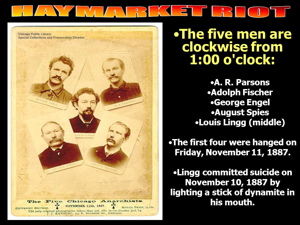 The five men are clockwise from 1:00 o'clock: A. R. Parsons Adolph Fischer George Engel August Spies Louis Lingg (middle) The first four were hanged o